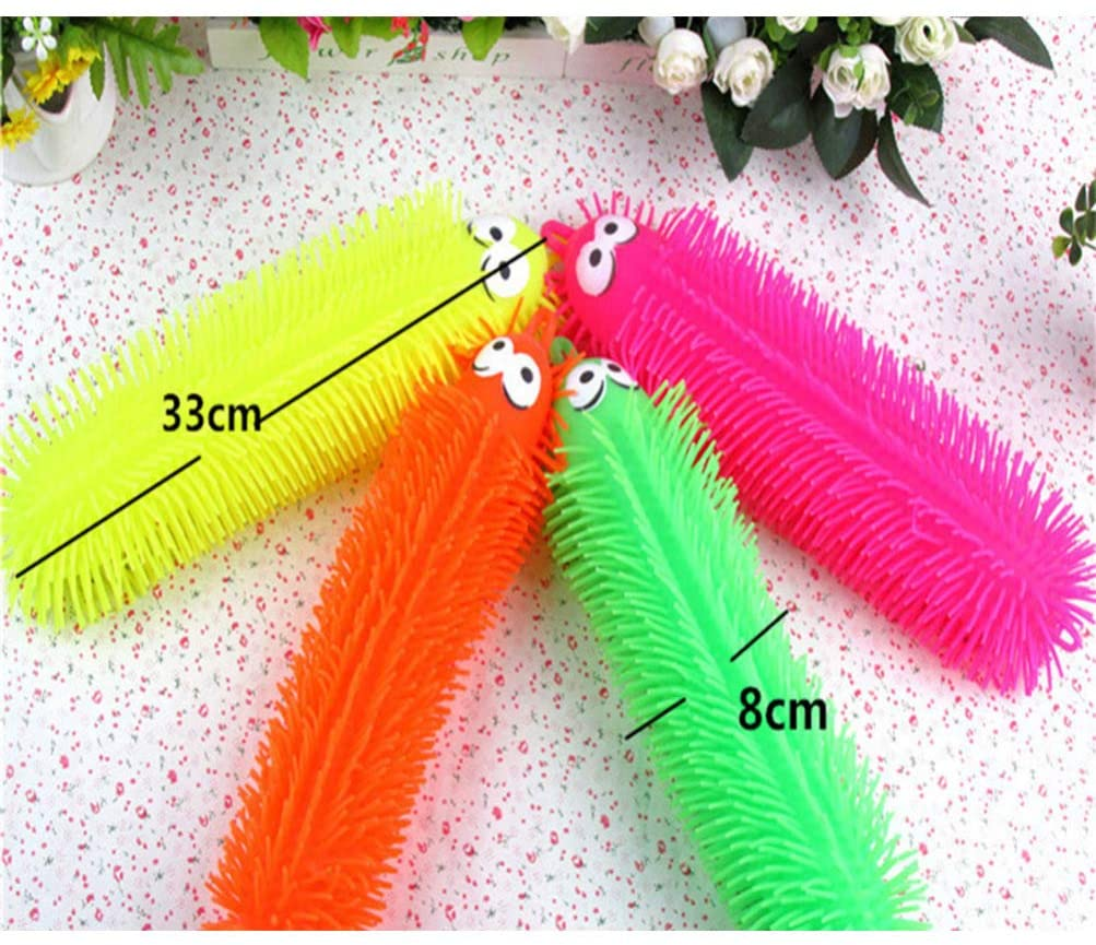NUOBESTY Flashing Light Up Stretchy Caterpillars Squishy Stress Balls Toy Anxiety and Stress Relief Toys for Adults Teen Kids Random Color