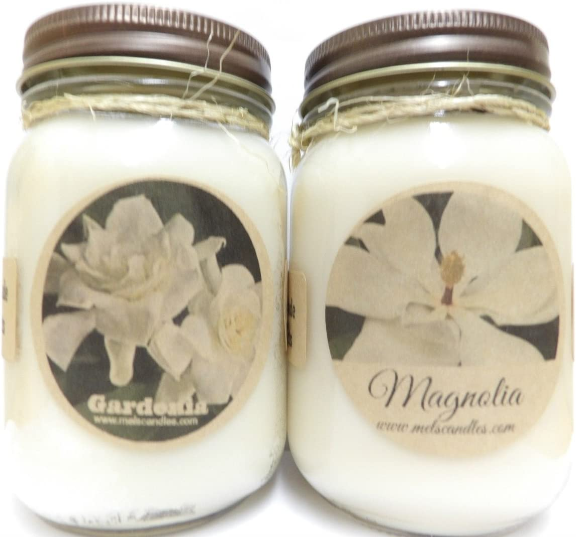 Gardenia & Magnolia Set of Two 16oz Country Jar All Natural Soy Candles- Approximate Burn Time 144 Hours Each