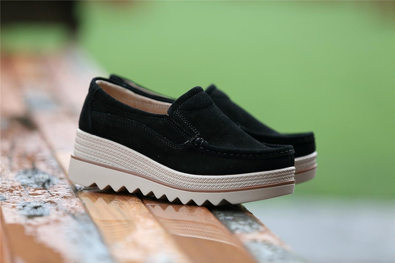GOGOXM Women Platform Slip On Loafers Shoes Comfort Suede Moccasins Fashion  Casual Wedge Sneakers Black Grey Khaki Blue 35-42  Amazon.co.uk  Shoes    Bags cd9e1b688000