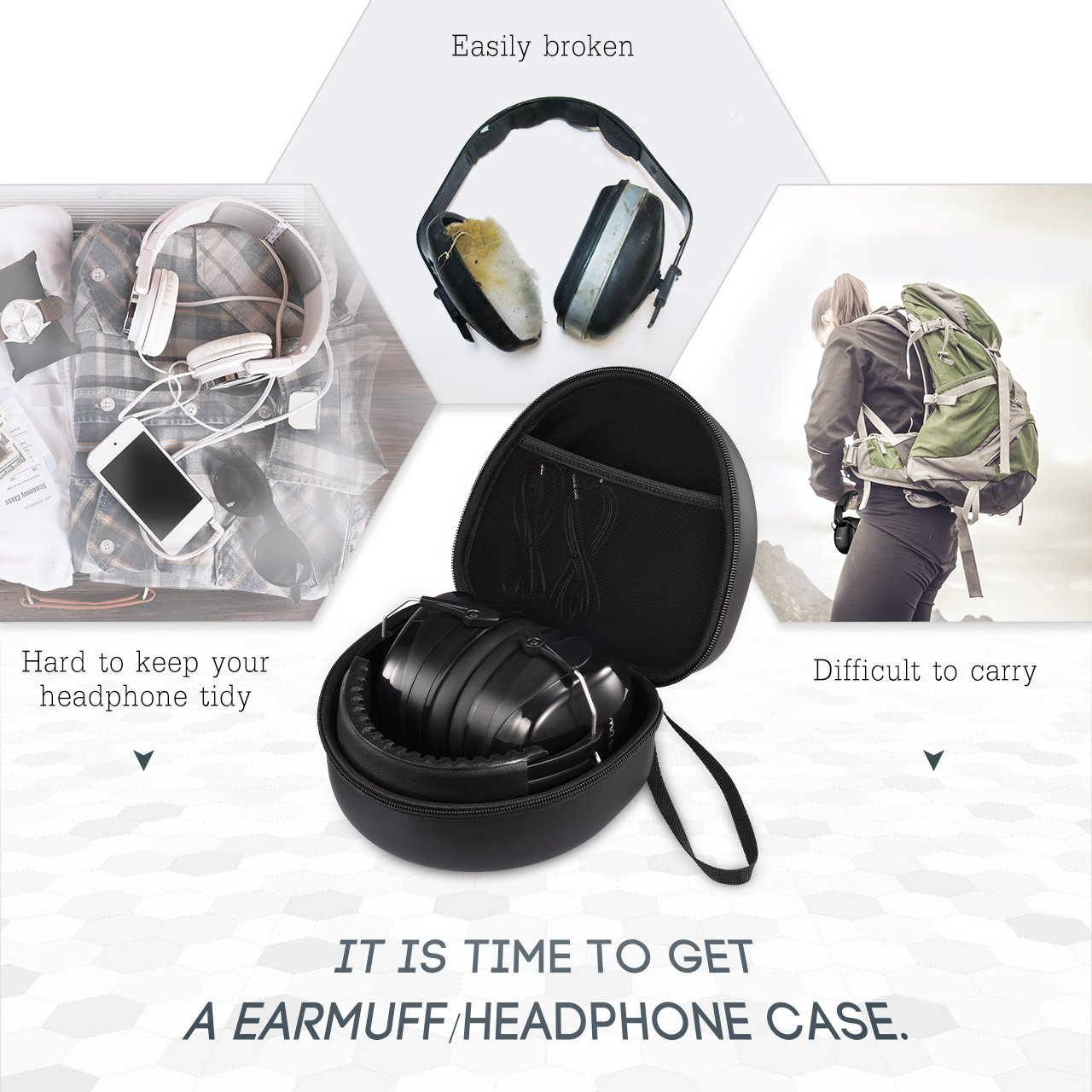 Mpow Earmuff Case for Mpow 035/068/108 Noise Reduction Safety Ear Muffs, Hard Travel Case EVA Hardshell for Mpow 059/H1/H2/H5 Foldable Headphone, Travel Carrying Case with Mesh Pocket for Accessories by Mpow (Image #3)
