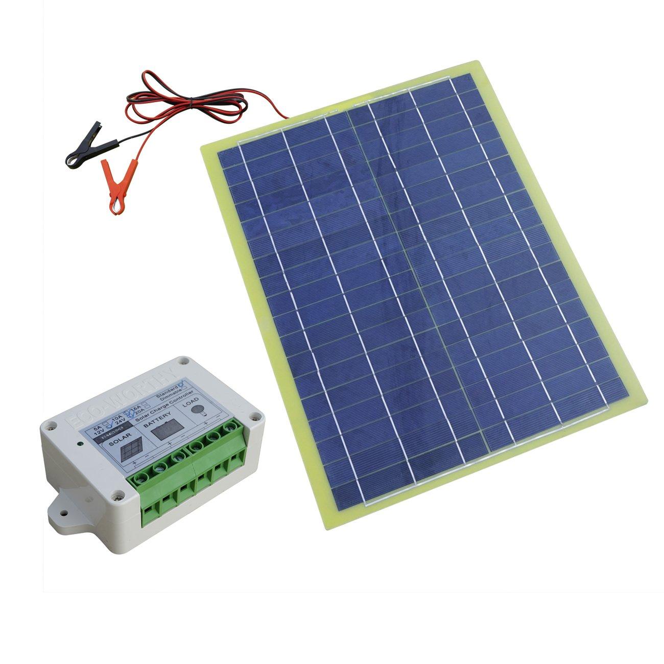 ECO-WORTHY 12V 20W Portable Epoxy Solar Panel Kit 20W Solar Module with 10A PWM Controller ECOWORTHY