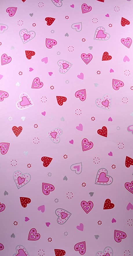 New Trends Pink Hearts Wallpaper Girls Bedroom Playroom Nursery Feature Wall