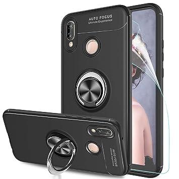 Funda Huawei P20 Lite con Anillo Soporte, LeYi 360 Ring Gel TPU de Silicona Bumper Case Carcasa Huawei P20 Lite con HD Protector de Pantallaa, Negro