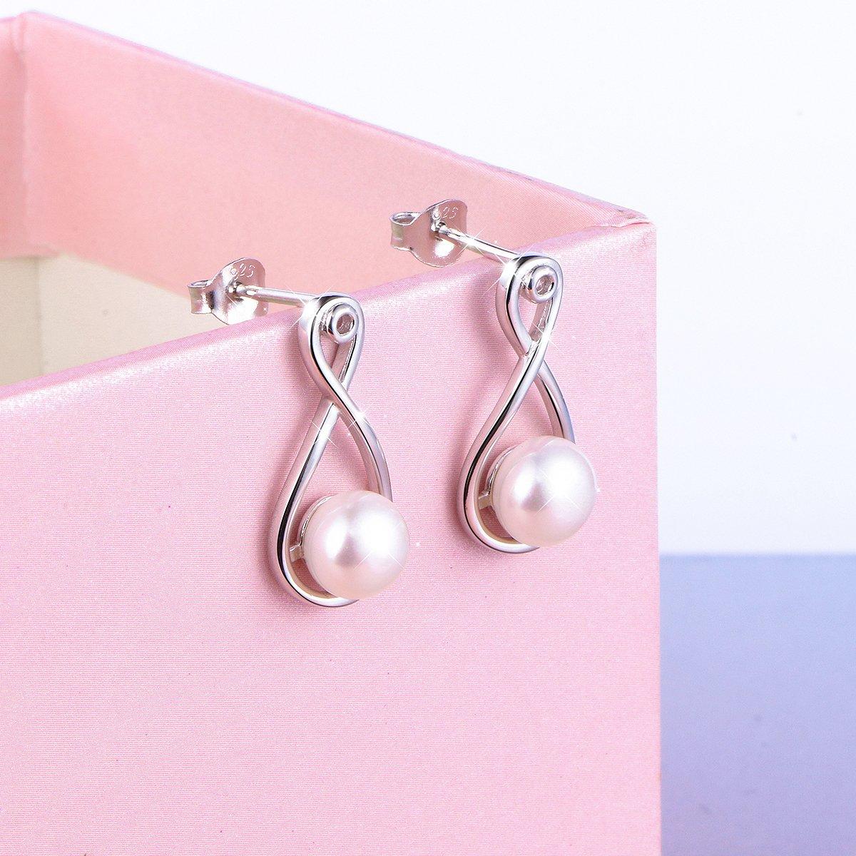 LINLIN FINE JEWELRY 925 Sterling SilverS925 Sterling Silver Stud Dangle Drop Cute Earrings for Women Girl (Infinity) by LINLIN FINE JEWELRY (Image #6)