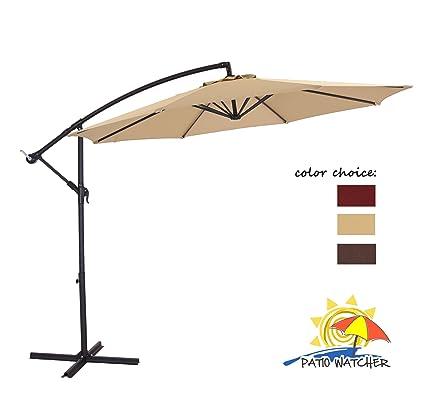 Patio Watcher 10 Feet 8 Ribs 250GSM UV Resistant Polyester Fabric Aluminum  Offset Patio Umbrella