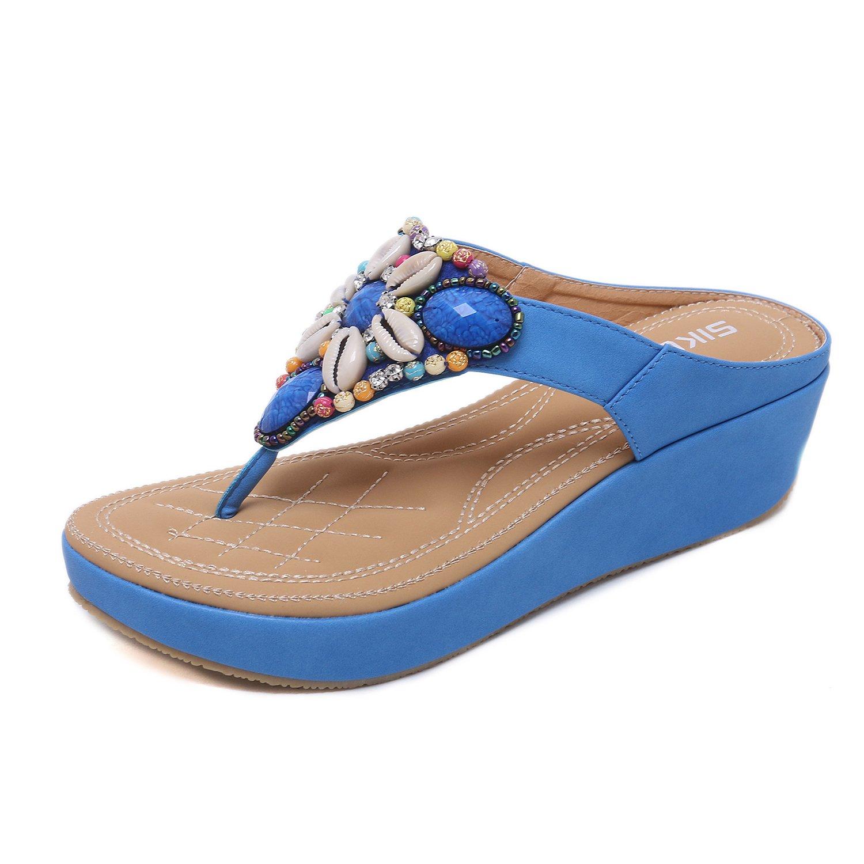 Damen Zehentrenner Flip Flops Strass Zierperlen Bohemian Pantolette in Grouml;szlig;e 35-44  37 EU|Blue