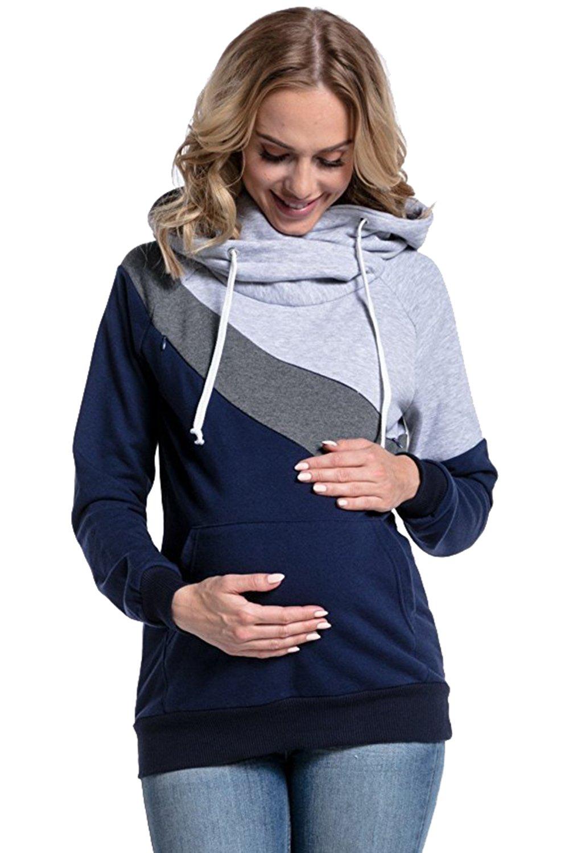 Damen Umstands Pullover Breastfeeding Sweatshirt Hoodie Top mit Stillfunktion S-2XL