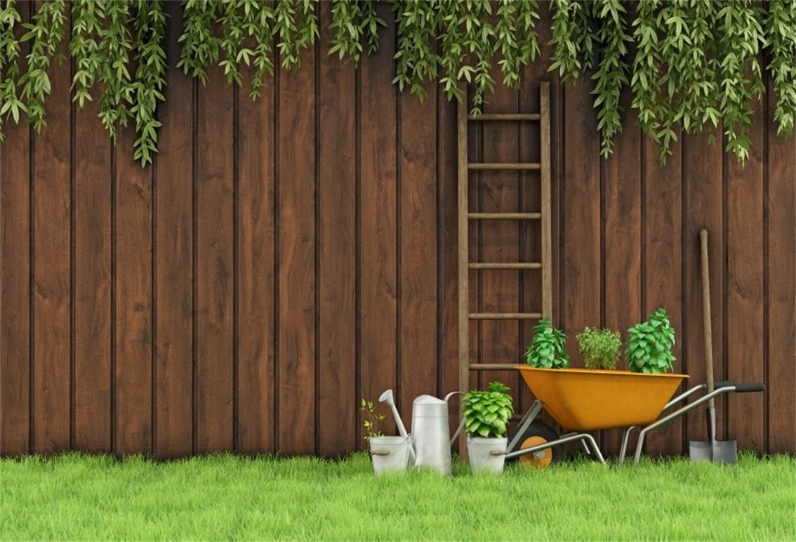 DaShan 14x10ft Wood Fence Backdrop Spring Garden Bloom Flowers Green Lawn Bridal Shower Wedding Photography Background Newborn Baby Birthday Portrait Mother Girl Anniversary Party Photo Props