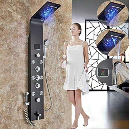 Onyzpily - Columna de ducha con 8 boquillas de masaje (LED, acero ...