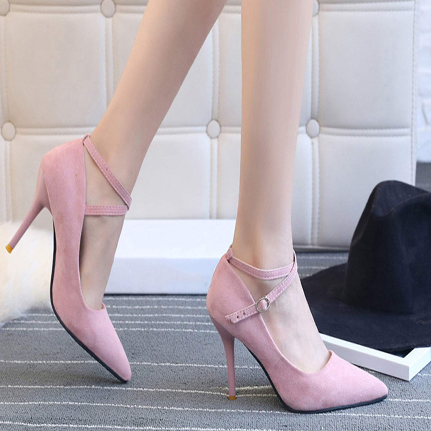 SATOSHI DUN High Heel Shoes Plus Size Female Ankle Strap High Heelsheel Shoes high #1240,A,5.5,
