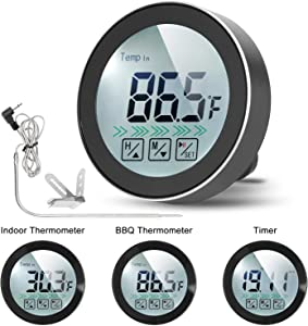 Meat Thermometer for Grilling, MinSoHi 3-Functions Meat Thermometer Digital BBQ Cooking Thermometer with Probe, Touch Screen Indoor Outdoor Timer Food Thermometer for Home Barbecue Oven Kitchen