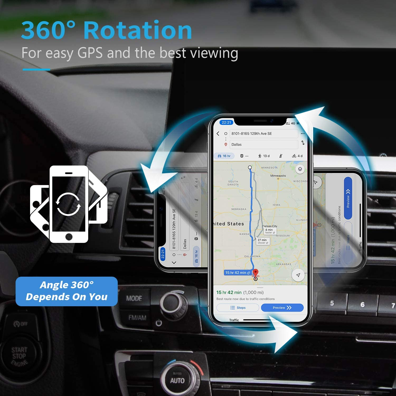 Samsung Galaxy S and More Phone Holder for Car with Twist-Lock base Air Vent Car Phone Mount Holder Compatible with iPhone Xs Max 8//7//6 WixGear Google Pixel 3 XL 2 Pack Magnetic Phone Car Mount