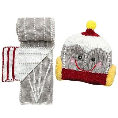 Vococal Enfants mignons hiver chapeau tricoté bonnet + écharpe ensemble  pour 6-36 mois vieux 12f1b9aa3db