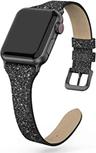 SWEES Leather Band Compatible for iWatch 38mm 40mm, Shiny Bling Glitter Matte Slim Thin Elegant Genuine Leather Strap Compatible with iWatch Series 6 5 4 3 2 1 SE Sport Edition Women, Glistening Black