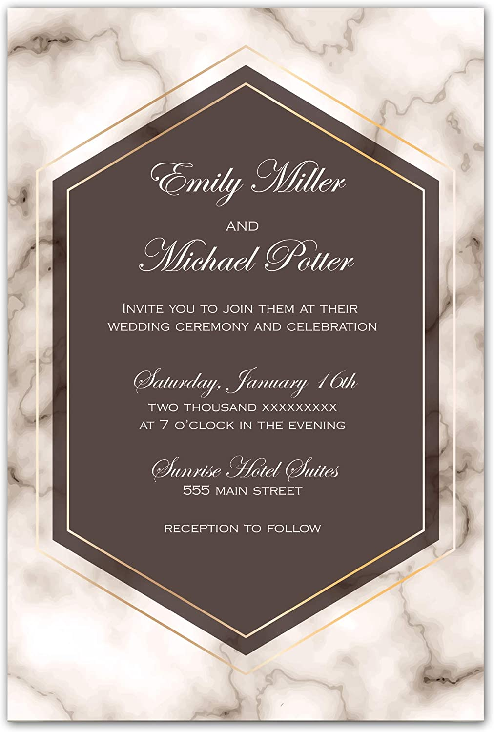 Amazon.com: 100 Wedding Invitations Brown Marble Personalized + Envelopes:  Kitchen & Dining