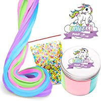 Fluffy Unicorn Poop Slime Kit - Unicorn Gifts - Soft Floam Putty Package
