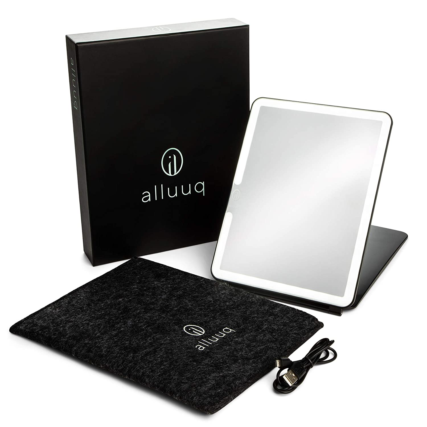Alluuq, Lighted Travel Makeup Mirror, FELT CARRY BAG, Black, LED Makeup Mirror, Travel Vanity Mirror with Lights, Long Lasting USB Rechargeable Battery, Portable, Stylish, Pose LED Travel Mirror