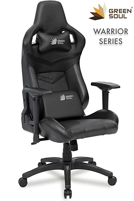 Green Soul PU Leather Gaming/Office Chair with 180 Degree Recline (Full Black)