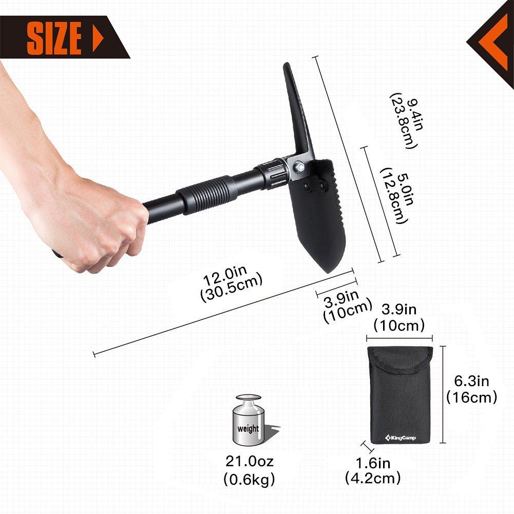 KingCamp Multifunction Portable Outdoor Folding Shovel for Hiking Hunting Fishing Gardening (Mini Folding Shovel)