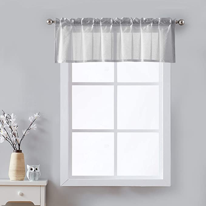 Sheer Grey Kitchen Curtains Valances For Windows Top Solid Short Bathroom Curtains 56 W X 15 L 1 Pk Home Kitchen Amazon Com