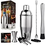 Aozita Cocktail Martini Shaker Home Bar Set Includes 24 Oz Cocktail Shaker / Mixing Spoon and Muddler / Jigger / 2 Liquor Pourer with Covers / Drink Recipes - Bartender Bar Accessories