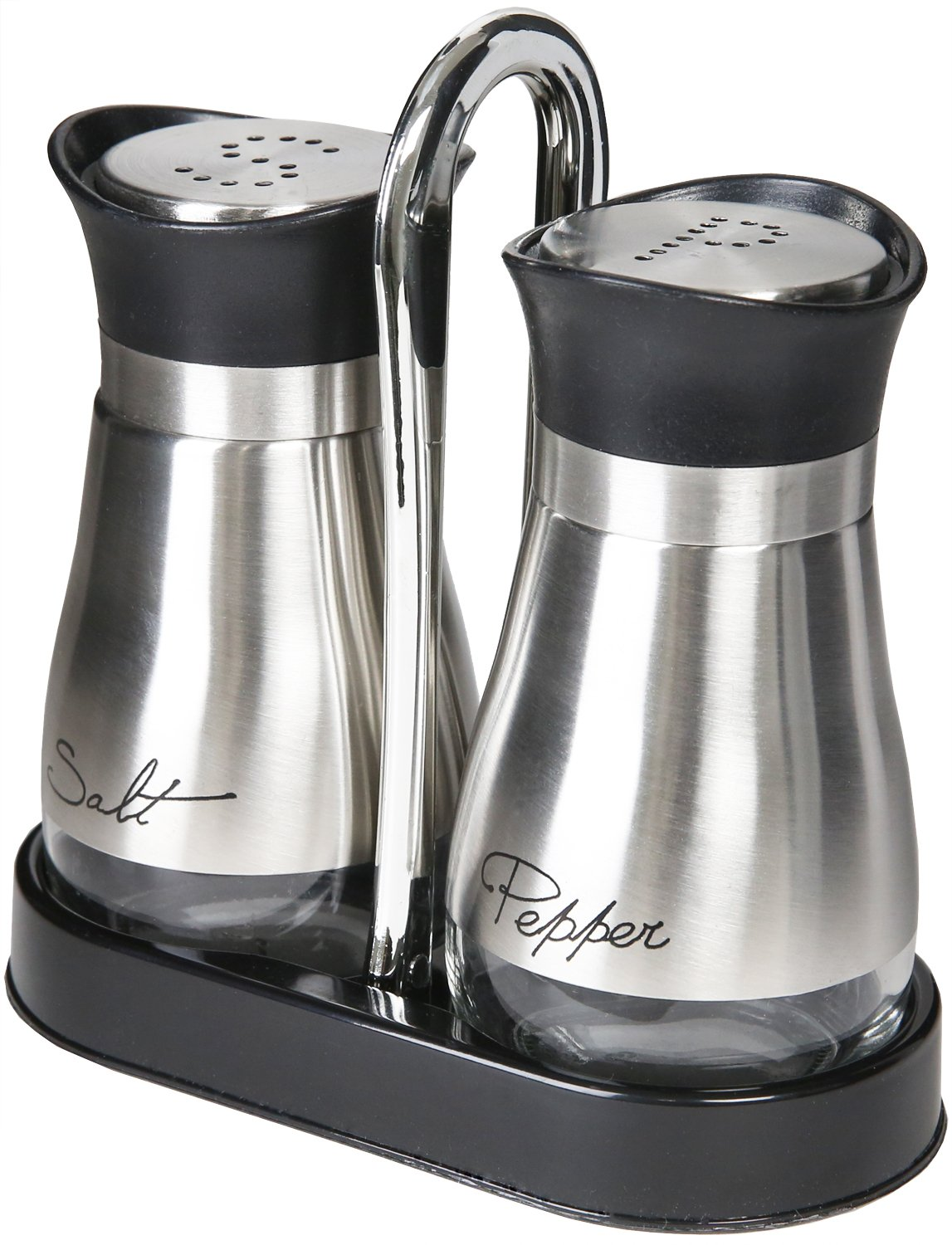 amazoncom salt and pepper shakers set  high grade stainless  - amazoncom salt and pepper shakers set  high grade stainless steel withglass bottom and ' stand   x  x   oz kitchen  dining