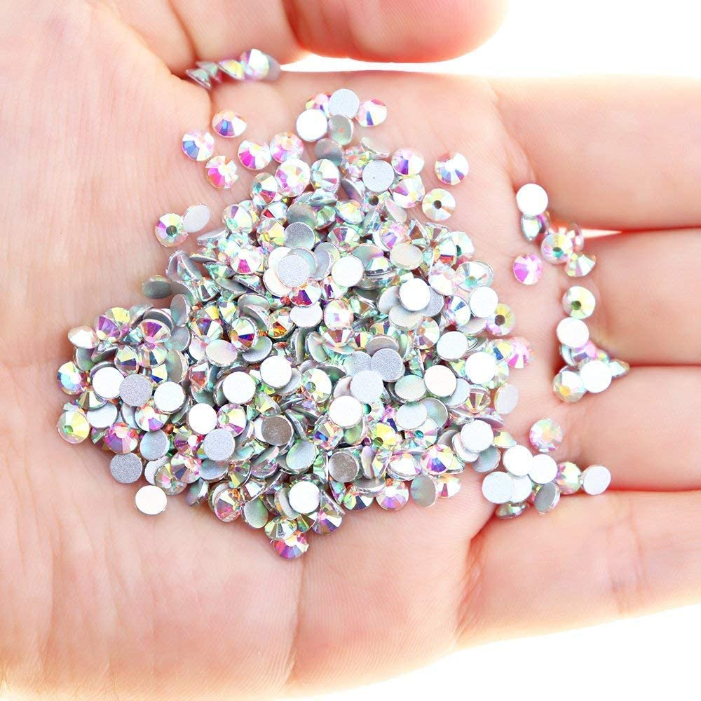Crystal AB 4mm Clear Crystal Flat Back Brilliant Round Rhinestones Glass Stones Glitter Gems Transparent Faux Diamond Onwon 1440 Pieces SS16 Non Self-Adhesive