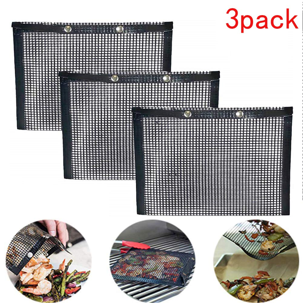 Non Stick Mesh Grilling Bag, BBQ Grill Mesh Bag Reusable and Easy to Clean BBQ Baked Bag Suitable for Grilled Vegetables/Fish/Fajitas/Shrimp (3 PACK) by khhhhhhalend
