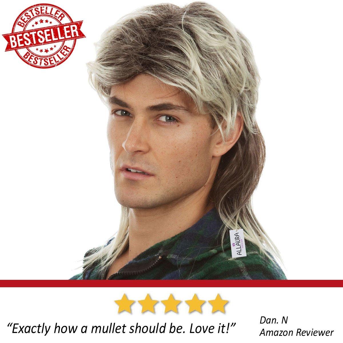 80s Blonde Mullet Wig for Men - Joe Dirt Wigs White Trash Redneck Costume by ALLAURA (Image #3)