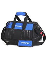 WORKPRO 16-inch Tool Bag Organiser, Hard Base Wide Open Mouth Heavy Duty Muti-Purpose Tool Bag with Adjustable Shoulder Strap