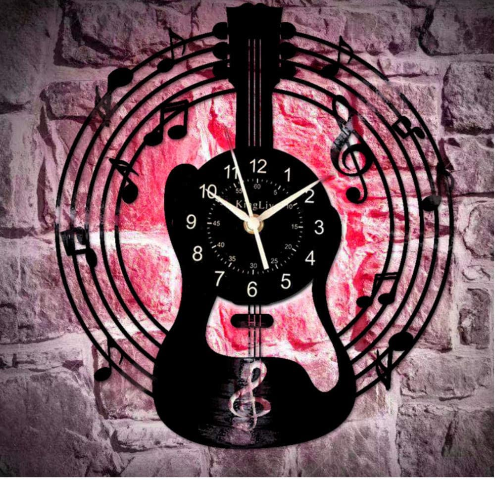 Amazon Com Yidad Hollow 7 Color Led Light Gutiar Music Vinyl Record Wall Clock Decorate Your Home With Large Gift Ideas For Lovers Cool Unique Modern Kitchen