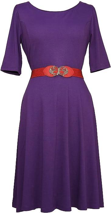 9d92f5cdad2f Modeway Women s Half Sleeve A Line Knee Length Vintage Dress(M Dark Purple)  N9