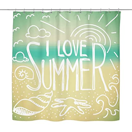 Teelaunch U0027I Love Summeru0027 Summer Quotes Shower Curtain, Summer Ainu0027t Over