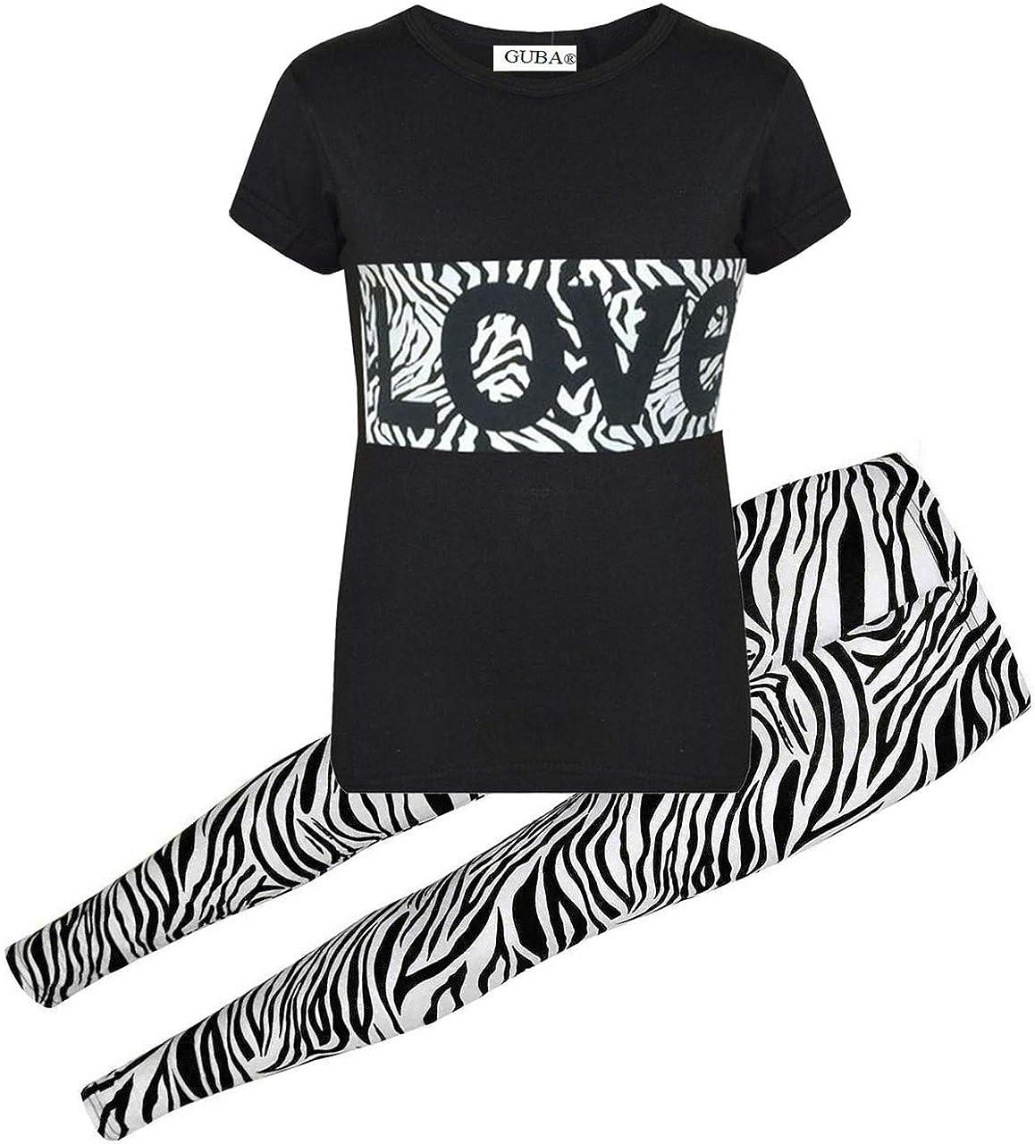 GUBA/® Girls Love Zebra T-Shirt TOP /& Legging Set Summer WEAR Age 7-13 YRS