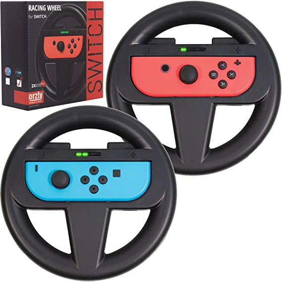 Orzly Nintendo Switch Steering Wheel Twin Pack For Mario Kart 8 Deluxe Nintendo Switch Mariokart Switch Steering Wheel Joycon Controller
