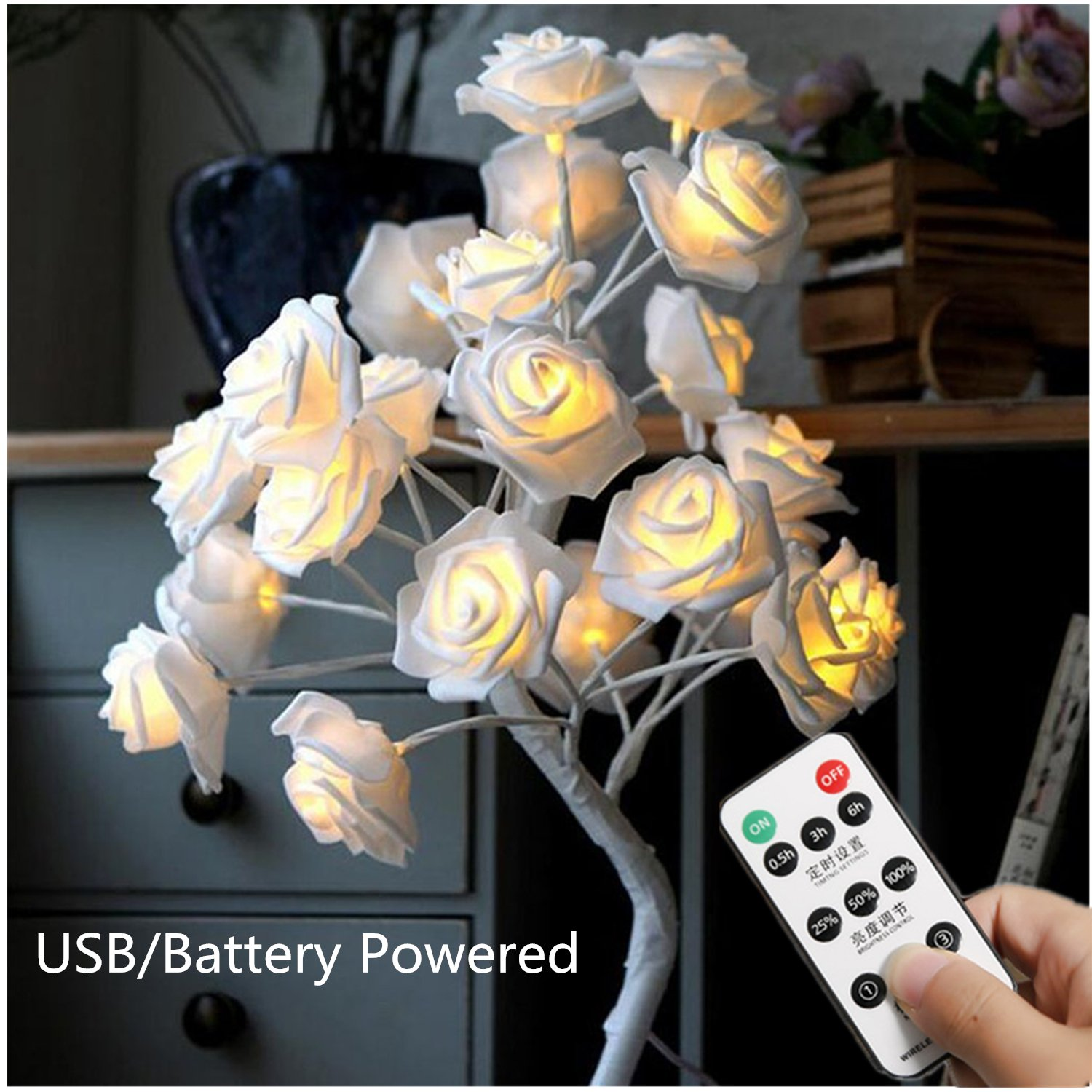 White Rose Table Lamp with Remote,USB/Battery Powered Flower Desk Lamp,Wedding Decor Flower Tree Lights for Girl Bedroom Party Dinner Xmas with 24 Warm White LED Lights [3 Mode,Dimmable,Timer]