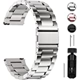 Fullmosa Watch Band 18mm 20mm 22mm 24mm, 3 Colors Quick Release Watch Strap Compatible Samsung Gear S2 Classic,Huawei Watch 2,Moto 360, 20mm Silver