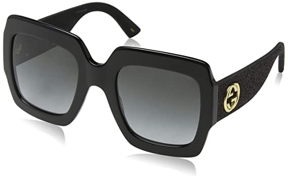 2820f10adbc74 Gucci GG0102S 001 Black Grey GG0102S Square Sunglasses Lens Category 3 Size  5