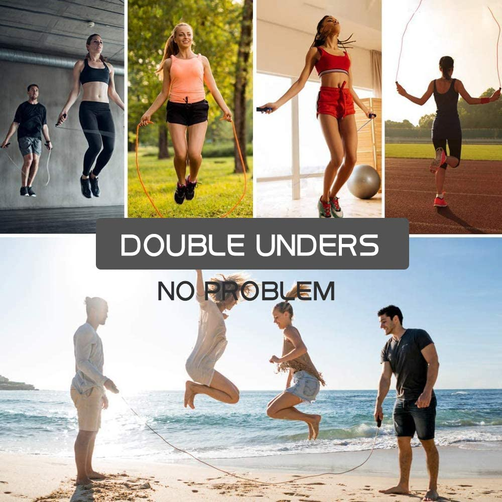 for Double Unders MMA Workout Double Anti-wear Pipes /& Cables Speed Rope with Weighted Aluminum Non-Slip Handle High-Speed Jump Rope Black Fitness 360 Degree Spin Tangle-Free Skipping Rope Boxing