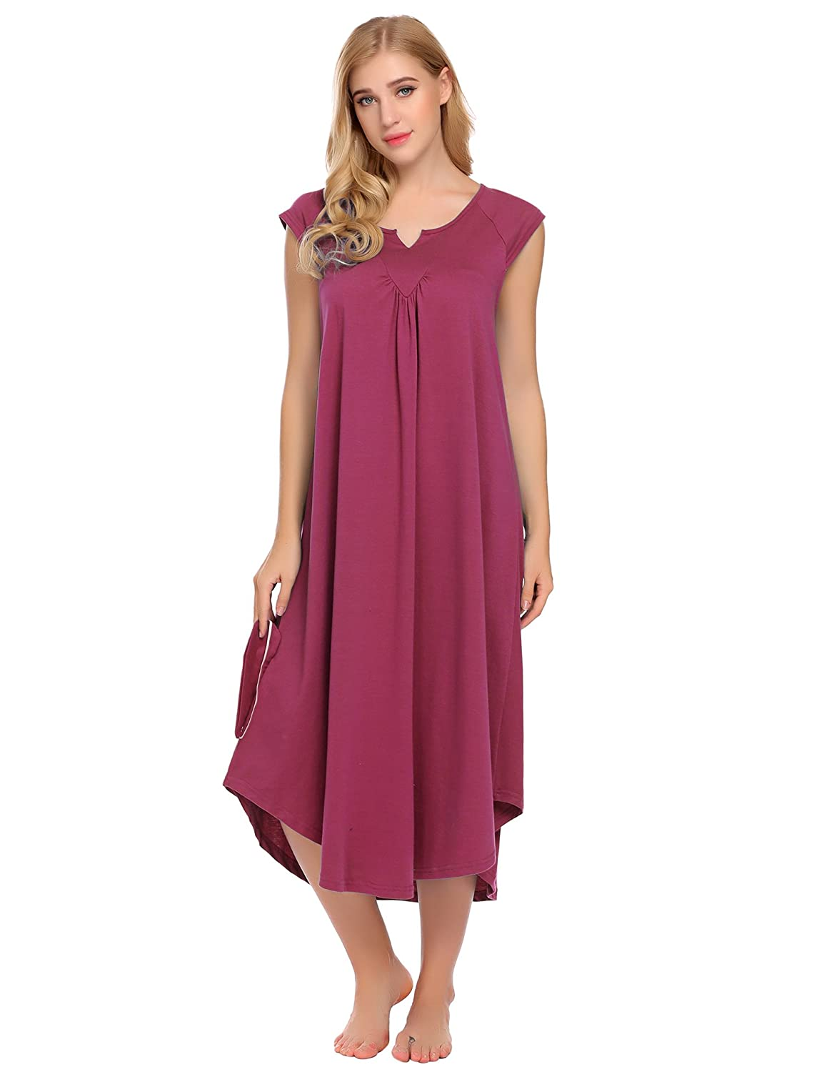 Cherry Red Asatr Women's Nightgown Dress Long Cotton Nightdress Loose Cap Short Sleeve Sleepwear Maxi Dress SXXL