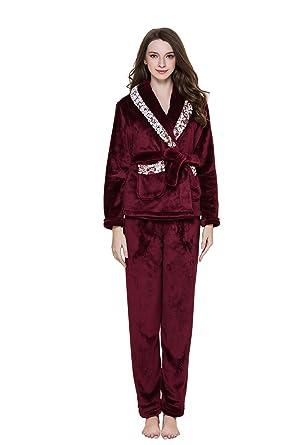 deff62a75fb327 QianXiu Mode Frauen Winter Korallen SAMT Pyjamas Langarm Dreiteilige Anzug  Komfortable Flanell Dick Plus SAMT Pyjamas