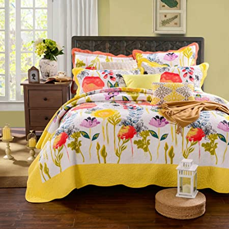 Mixinni Floral Patchwork Bed Spread Reversible Romantic Quilt Print