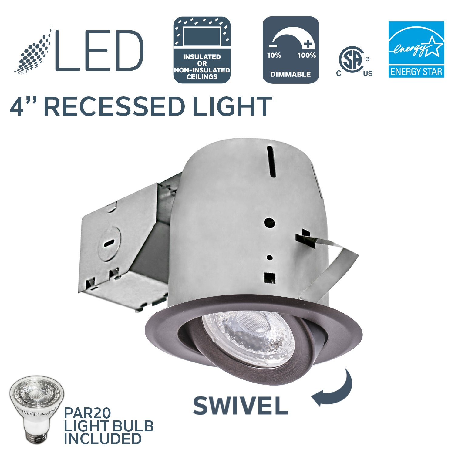 Nadair 4in LED Recessed Light Swivel Spotlight Dimmable Downlight - IC Rated - 3000K Warm White PAR20 630 Lumens Bulb (50 Watts Equivalent) Included - Bronze Color - PR378L-SWORB
