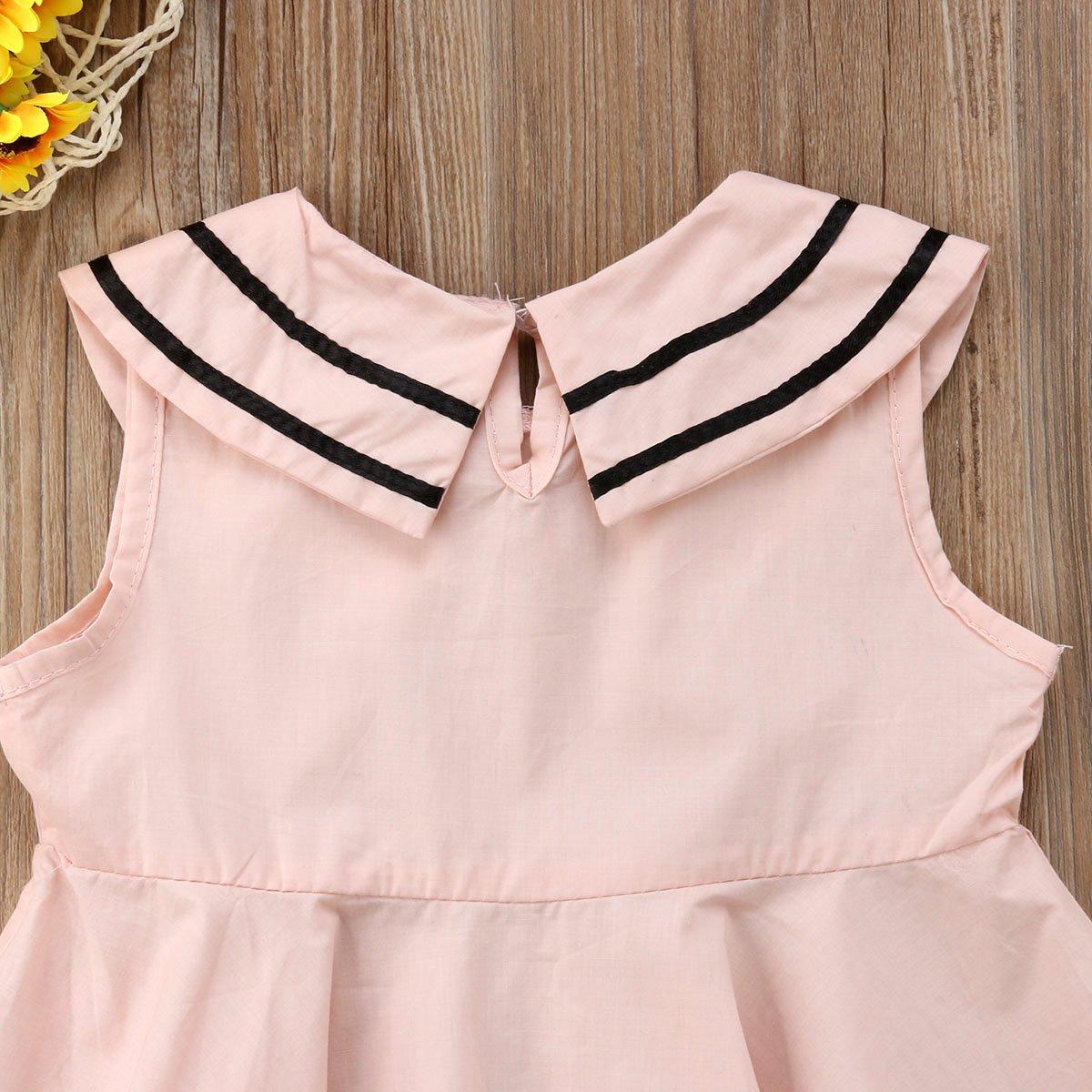 Mubineo Toddler Kids Baby Girl Summer Sleeveless Lapel Preppy Style Princess Dress
