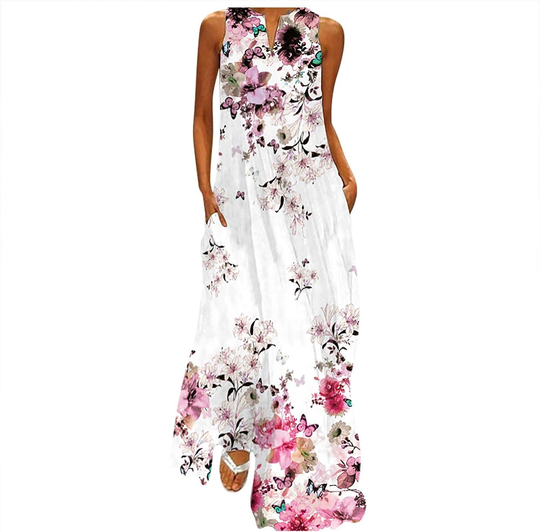 Womens Plus Size Long Maxi Dresses Summer Casual Boho V Neck Sleeveless Loose Maxi Dress with Pockets