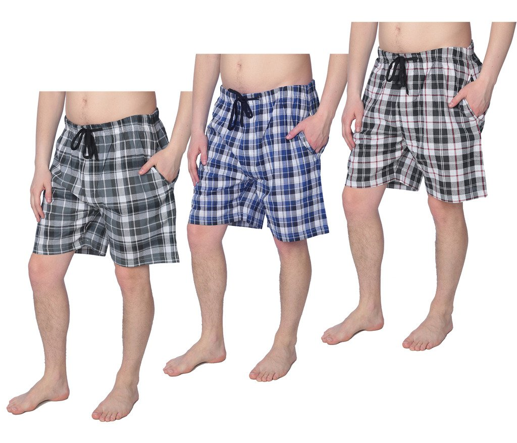 Beverly Rock Mens 100% Cotton Plaid Lounge Sleep ShortsAvailable in Plus Size Y18_Short_JMP1 3-Pack L