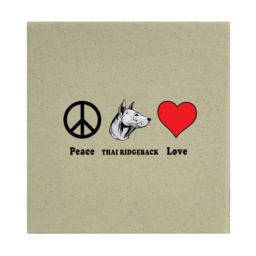 Style in Print Stretched Natural Canvas Peace Love Thai Ridgeback Dog 12''X12'' by Style in Print