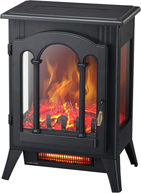 Kismile 3d Infrared Electric Fireplace Stove Freestanding Fireplace Heater With Realistic Flame Effects Portable Indoor Space Heater With Overheating Safety System Adjustable Brightness 16 3 Inch Kitchen Dining