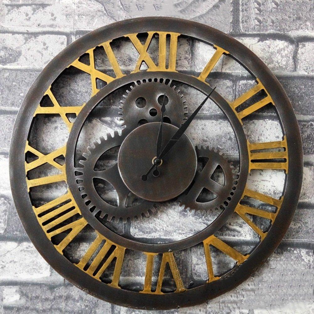 CSQ レトロウォールクロック、茶店ウォールクロック衣類ストアカフェリビングルームベッドルームウォールクロックレストランウォールクロックギア木製壁時計の直径直径60センチメートル ウォールクロックと掛け時計 (色 : A, サイズ さいず : 60*60cm) B07DPH5FDY 60*60cm A A 60*60cm