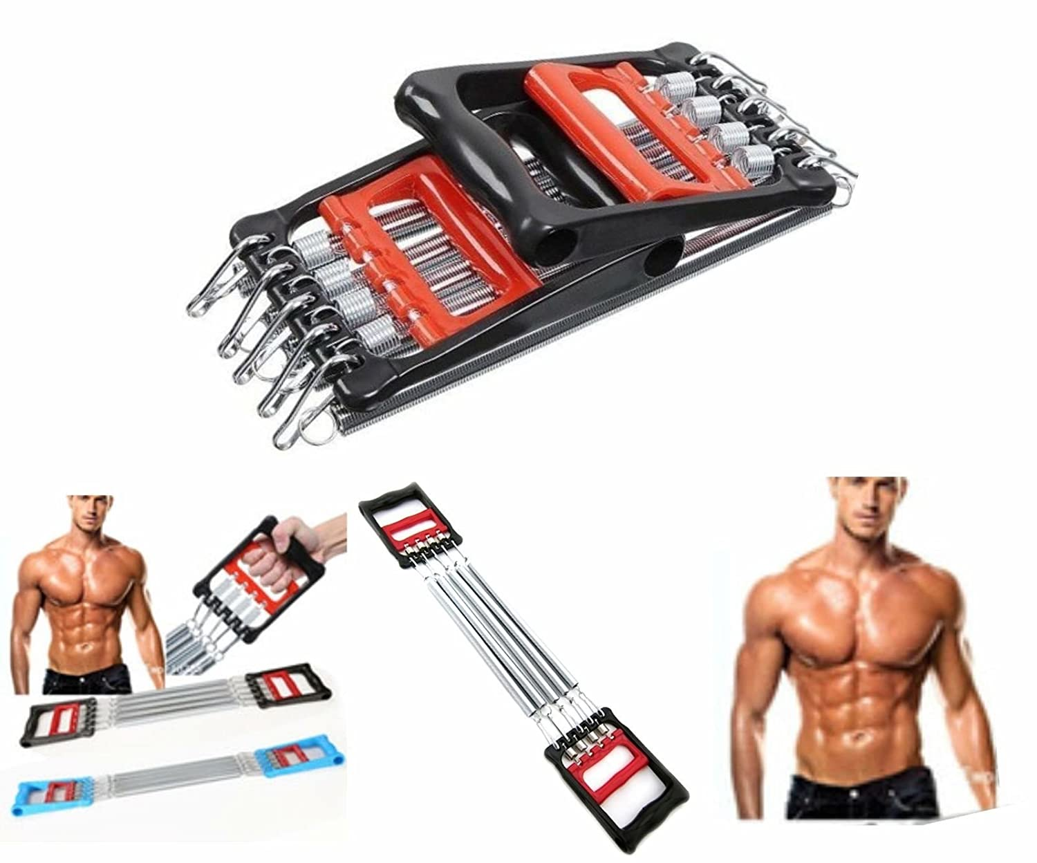 Other Body Building CHEST EXPANDER Strength Chest Pull Stretcher 5 SPRING Gym Fitness